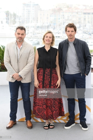 "CANNES, FRANCE - MAY 14: actor Clovis Cornillac, director Andrea Bescond and actor Clovis Cornillac attend the photocall for the ""Little Tickles (Les Chatouilles)"" during the 71st annual Cannes Film Festival at Palais des Festivals on May 14, 2018 in Cannes, France. (Photo by Venturelli/WireImage)"